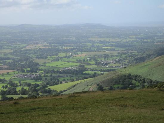 Bodfari, UK: Looking down towards the B&B from Offa's Dyke