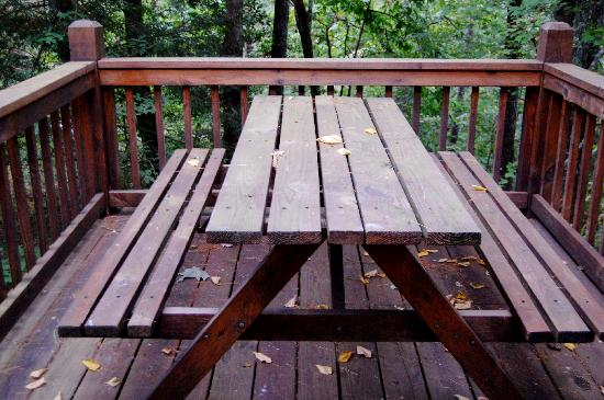 Lost Creek Cabins : outdoor eating area.