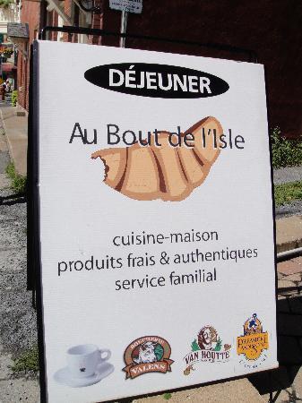 Au Bout de l'Isle: food sign