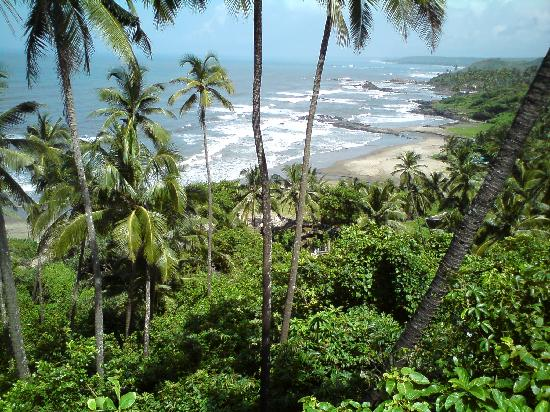 Anjuna, India: view of beach from adjacent hill cliff