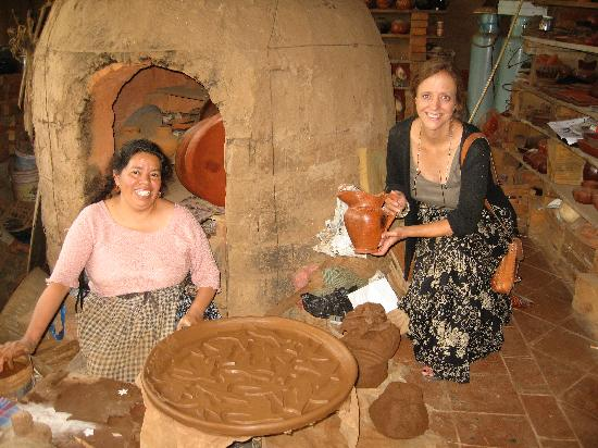 Patzcuaro, Mexico: Rosario at work in her studio with Marcia Parrino (our guide)