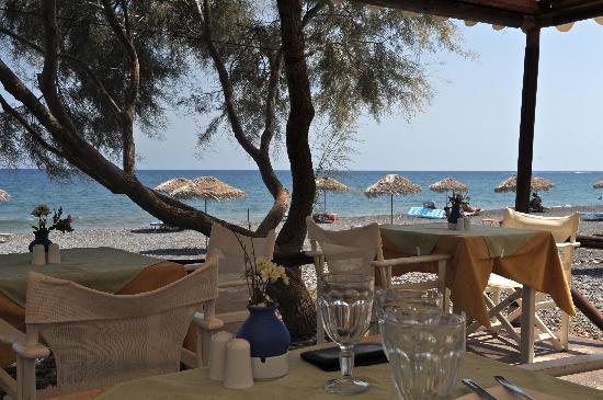 View from Almira Restaurant, Kamari Beach, Santorini