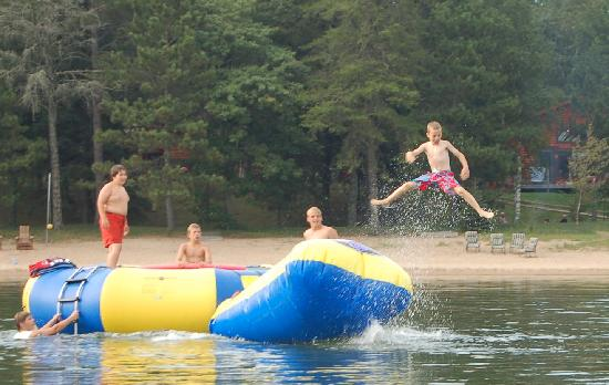 Water trampoline fun at Eagle Nest Lodge