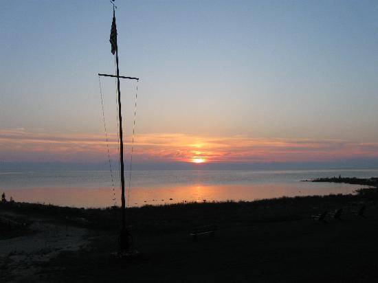 Sunset over Green Bay as viewed from Sunset Resort