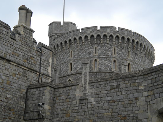 Windsor, UK: A view of the beautiful stone work of the castle