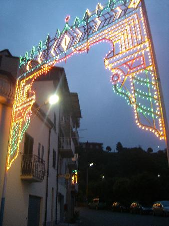Angoli at night with festival lights