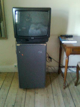 Hotel Kirstine: Worn minibar, old thick-TV, wire harness