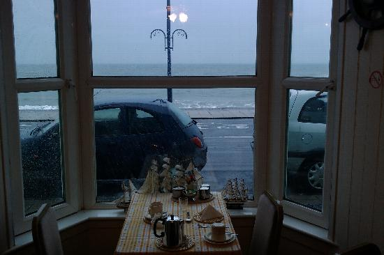 Aberystwyth, UK: View from breakfast table on a rainy morning