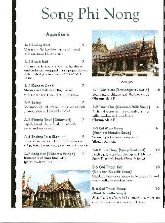 Song Phi Nong Thai Restaurant: Menu 1