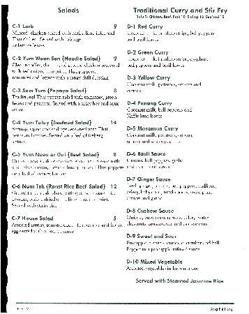 Song Phi Nong Thai Restaurant: Menu 2