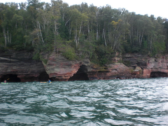 Vertical Illusions: The sea caves on the Apostle Island trip were awesome