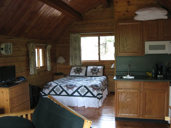 WOODS on Pender: bed inside cabin