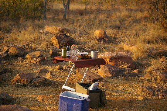 Mhondoro Game Lodge: Drinks during Game Drive in the afternoon, heaven!