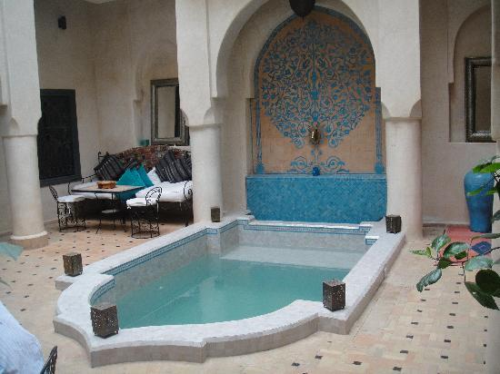 Riad Papillon: Plunge pool and courtyard