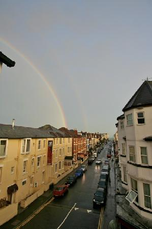 Croydon Hotel: double rainbow after a shower looking south