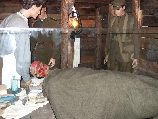 Flanders Battlefield Tours: mine warfare exhibition below stairs