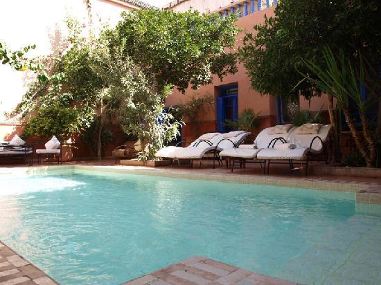 Ryad Les Cigognes : Täglich gesäuberter Pool im Innenhof (nicht geheizt)