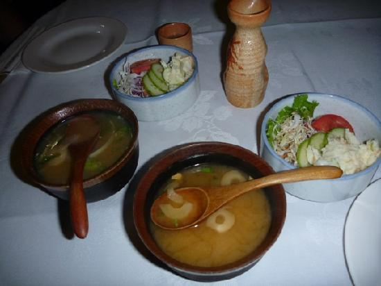 Kanpai: Miso soup and salad