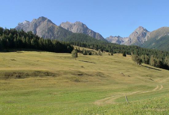Schloss Tarasp: 辺りは牧歌的風景が広がる