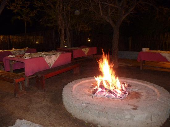 Marc's Treehouse Lodge: Dinner area around the fire pit.