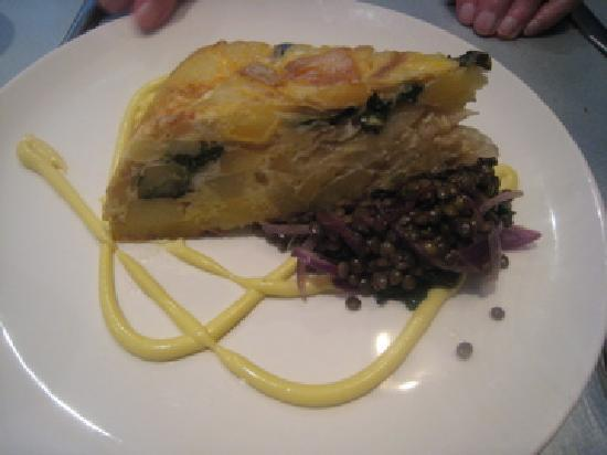 Cafe Paradiso Rooms: Lunch, Potato, caramelised onion&basil tortilla on wilted greensand puy lentils with rosemary ai