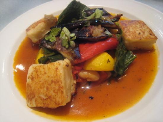 Cafe Paradiso Rooms: Lunch,Summer stew with scallopini squash, borlotti beans, roast aubergine, peppers and collard g