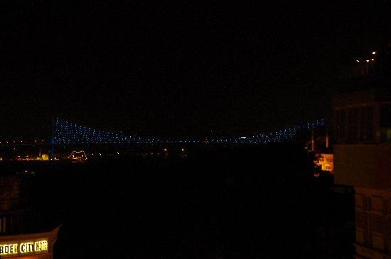 White House Hotel Istanbul: Bosphorous suspension bridge from the roof terrace.