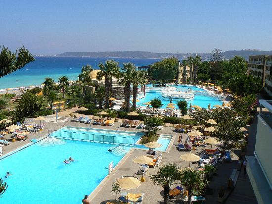 Sunshine Rhodes Hotel: vu d'une chambre avec vu mer,(avec suplement 150€ pour 15 jours)
