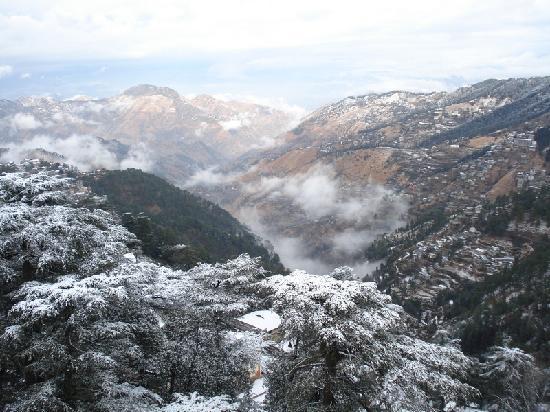 Shimla, India: From Ridge: Snow laden valley