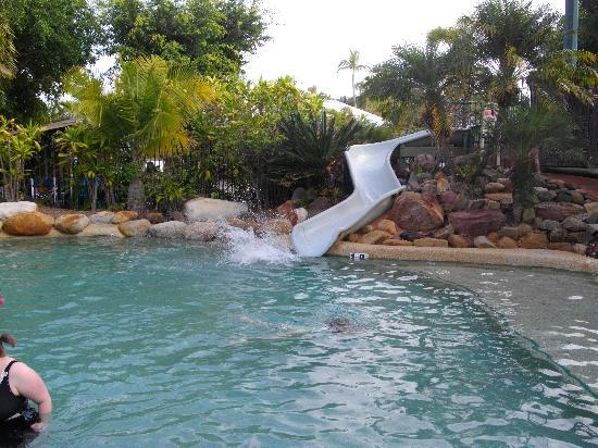 NRMA Treasure Island Holiday Park: The waterslide in the heated pool