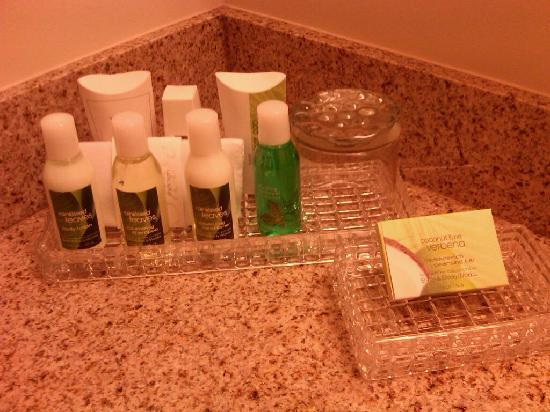 The Parkway Hotel: Bathroom vanity - great products!