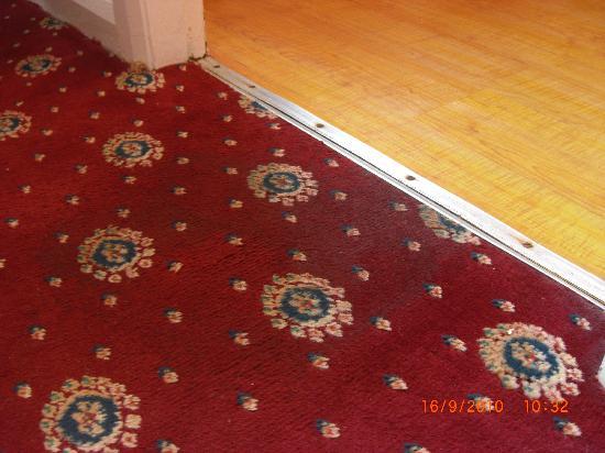 Santon Motel: Sodden carpet beside bathroom