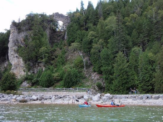 Kayaking in front of Acrh Rock, Mackinac Island