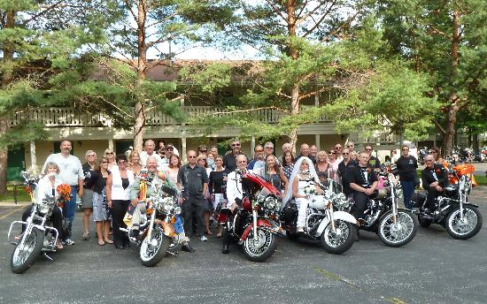 Parkwood Lodge: Bride & Groom and friends on Harleys
