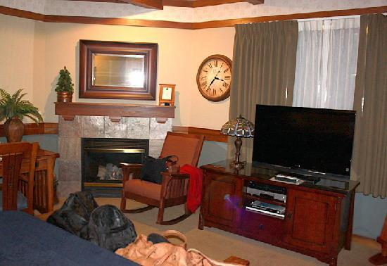 San Luis Creek Lodge: Loved the fireplace and craftsman-style furniture