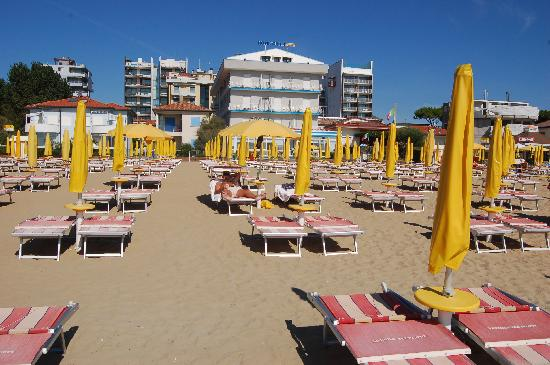Hotel Gritti: on the beach, with the hotel in the background