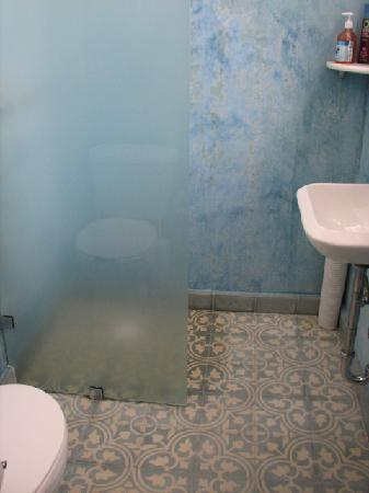 Dakota Bed & Breakfast: The shared bath for front 2 rooms (always someone's shower water on the floor)