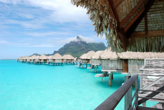 Four Seasons Resort Bora Bora: looking down the pontoon from our bungalow!