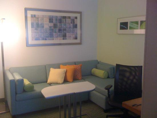 SpringHill Suites Charlotte Ballantyne Area : Living room area with sleeper sofa