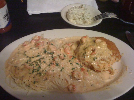 Metairie, LA: Crab Cake with pasta and Pontchatrain sauce and Potato Salad