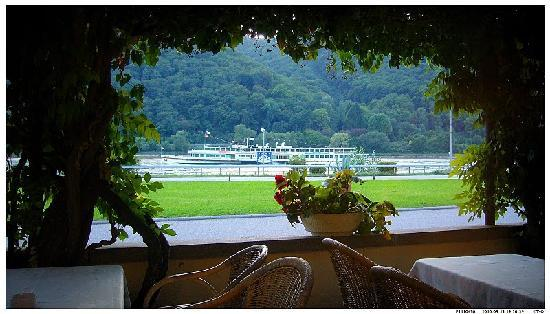 Assmannshausen, Jerman: view from the terrace over river Rhine