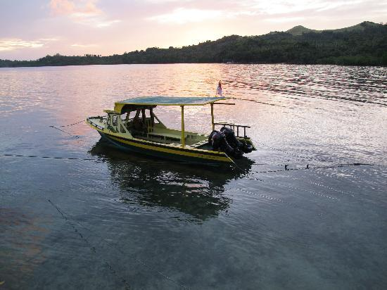 Mimpi Indah Resort: The smaller of the two dive boats