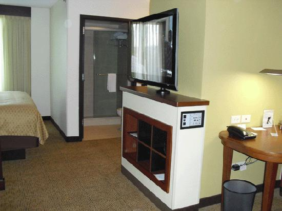Hyatt Place Mohegan Sun: TV and bathroom