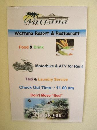 Wattana Resort: Servizi