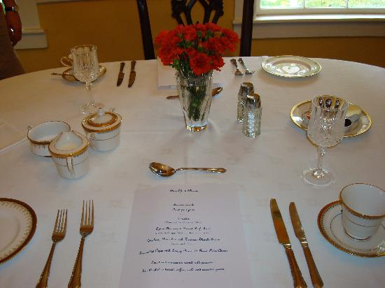 The Old Brick Tavern: Table Setting With Menu