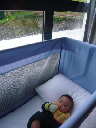 Mama Shelter Paris: Keyaan's cot by the window was already placed there when we arrived.