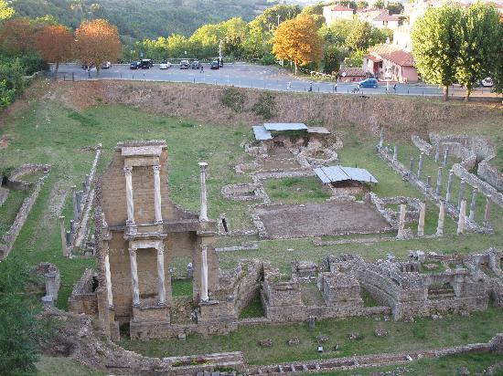 Roman ruins of a bath and theatre in Volterra