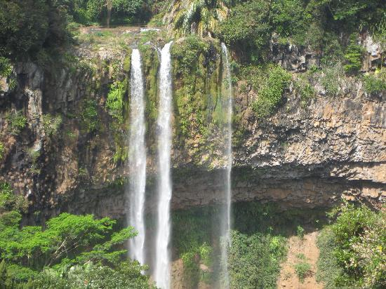 The waterfall near Chamarel 7 colored earth site