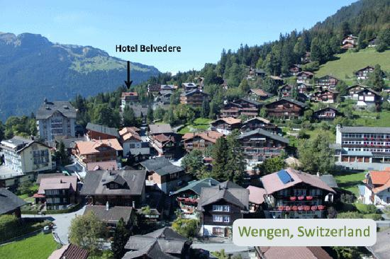 wengen with hotel location just a few minutes walk from town
