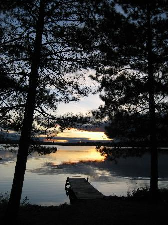 Moose Track Adventures: View from the first cabin at the resort, daybreak, loons calling.